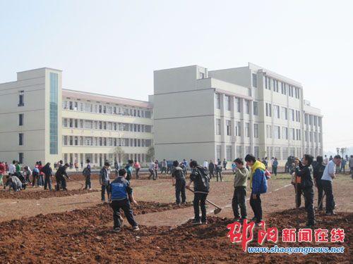 邵阳县岩口铺镇中学师生动手绿化美丽校园图片
