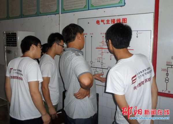 图为周站长为志愿者分析水电站电气主接线图